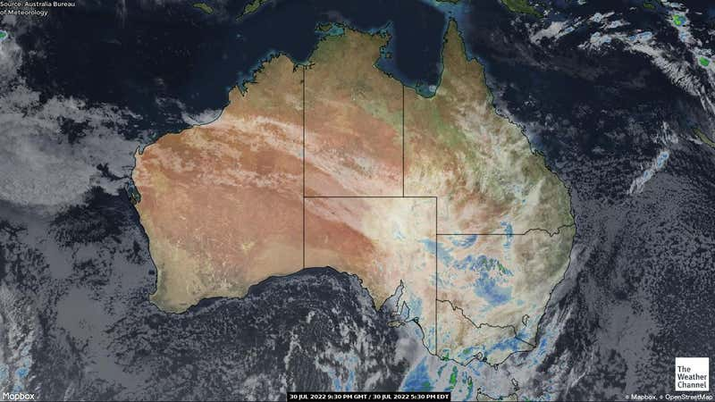 Satellite weather map of countries in Australia.