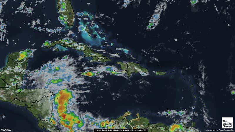 Satellite weather map of the Caribbean.