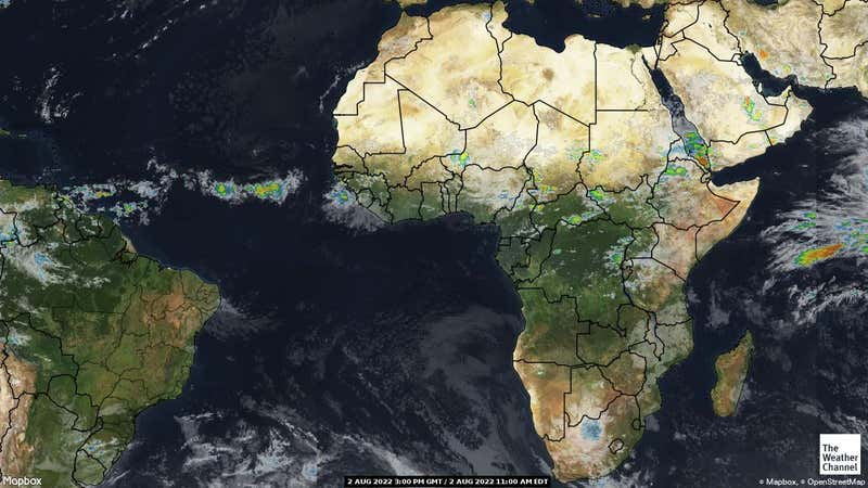 Satellite weather map of Africa.
