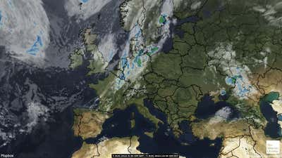 Satellite weather map of Europe.