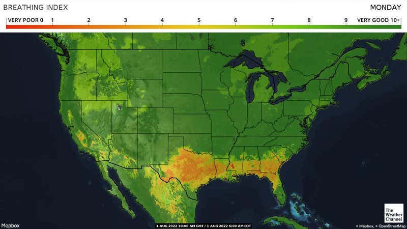 Map showing respiratory distress, based on weather, ranging from below normal to above normal.