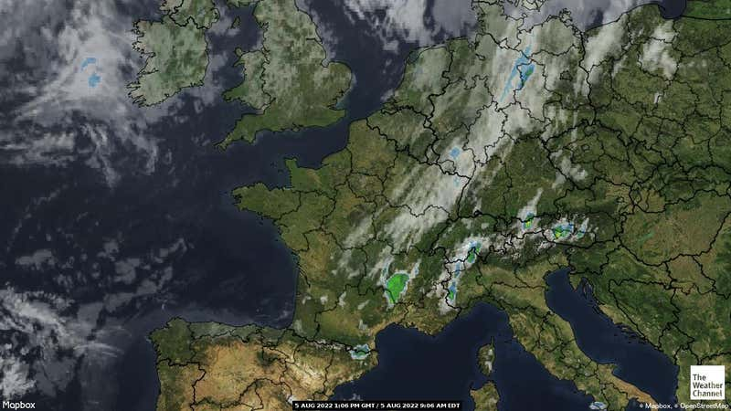 Satellite weather map of France.