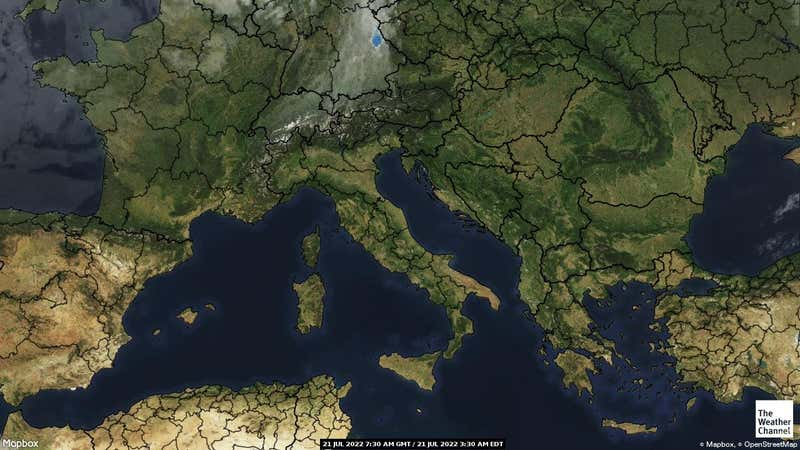 Satellite weather map of Italy.