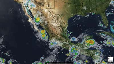 Satellite weather map of Mexico.