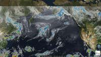 Satellite weather map of the Pacific Ocean.