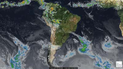 Satellite weather map of South America.