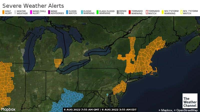 Severe watches, warnings, and advisories in the Northeast US.