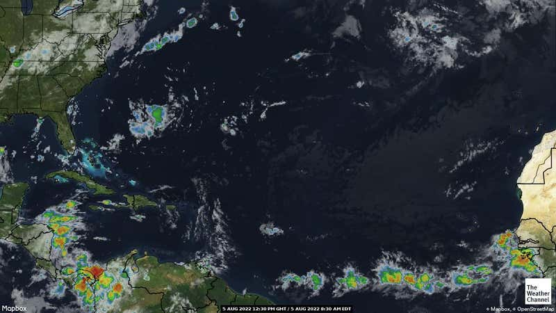 Satellite weather map of the Atlantic Ocean focused on where there is tropical storm activity.
