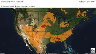 Next 12 hours Thunderstorm forecast depicting chance of Thunderstorms or Severe Thunderstrorms.