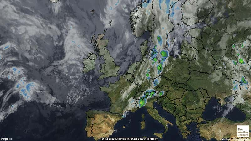 Satellite weather map of the United Kingdom.