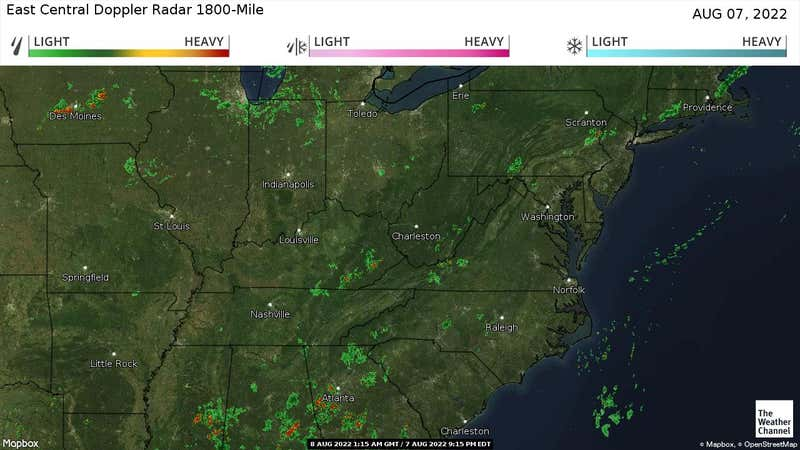 Current rain and snow in the East Central US.