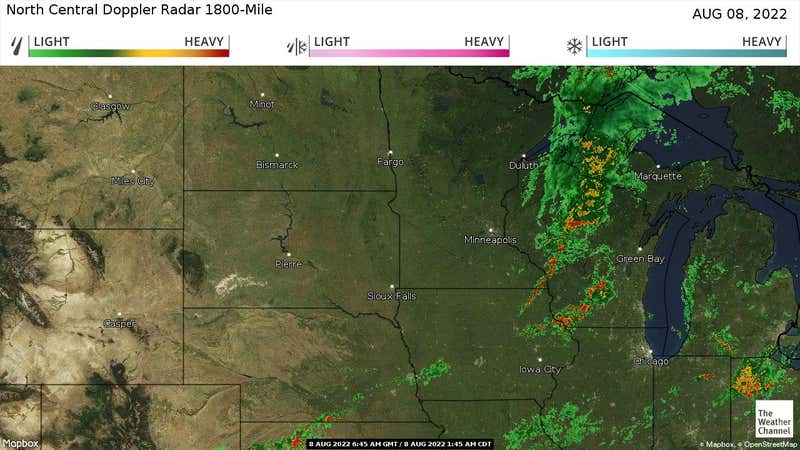 Current rain and snow in the North Central US.
