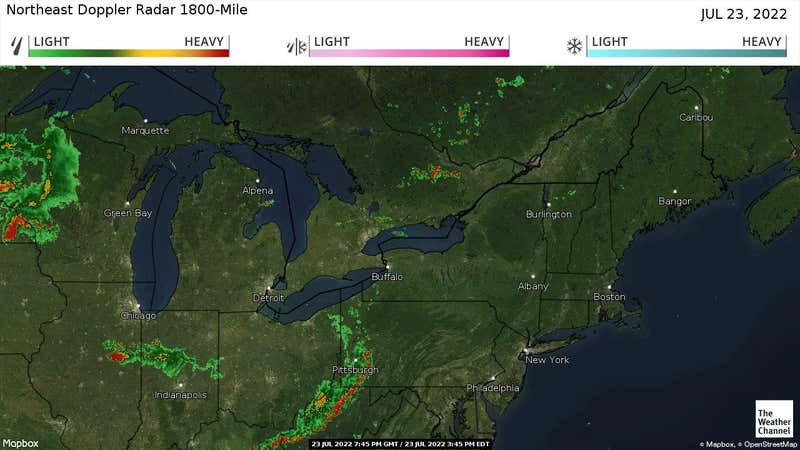 Current rain and snow in the Northeast US.