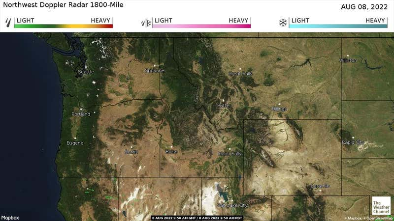 Current rain and snow in the Northwest US.