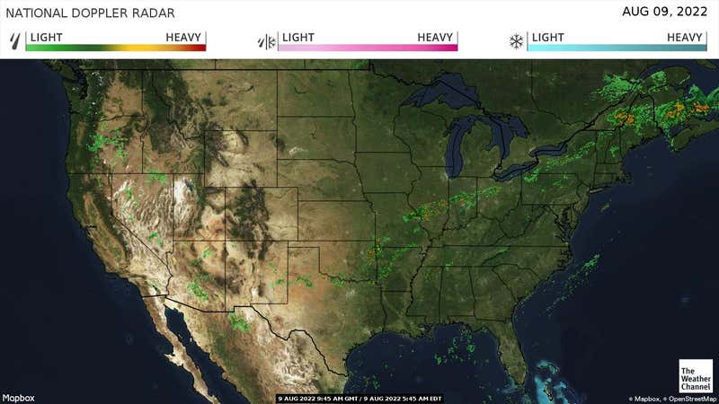 Current rain and snow in the US.