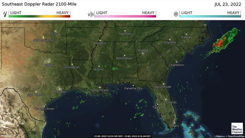 Current rain and snow in the Southeastern US.
