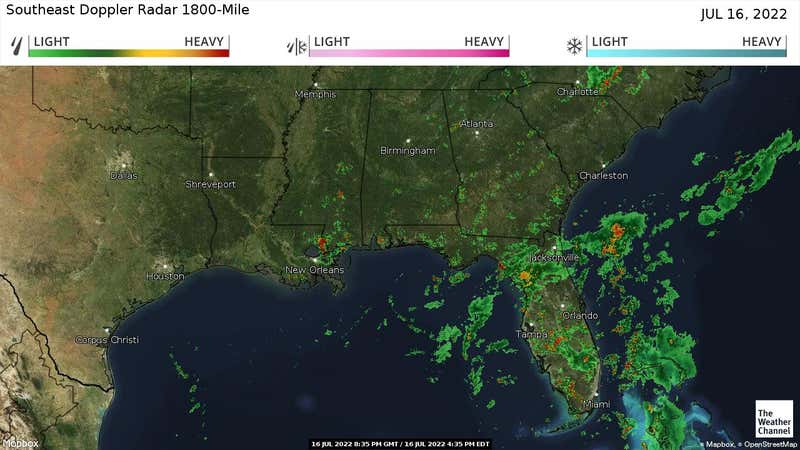 Current rain and snow in the Southeast US.