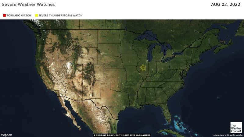 Tornado and Severe Thunderstorm Watches across the US.