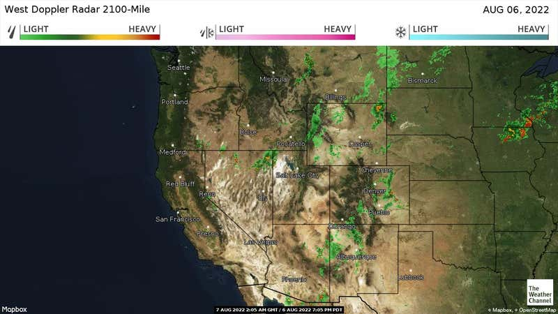 Current rain and snow in the Western US.
