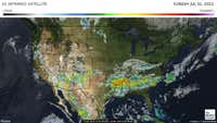 Current cloud cover over the US. Colder scale indicates heavier rain and snow.