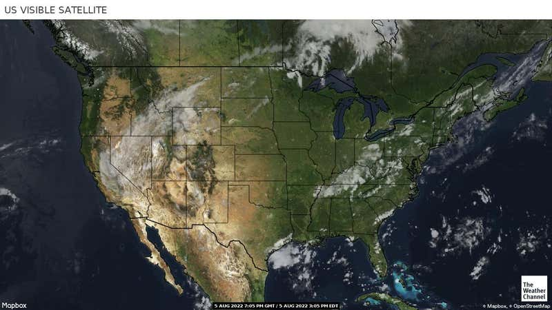 Shows current cloud cover with the white and grey areas representing cloud cover.