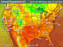 Map Of East Coast Florida.United States Current Temperatures Temperature Maps Weather