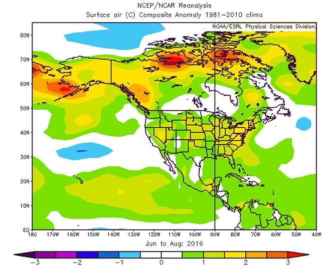 Summer Was Record Hottest In US Cities The Weather Channel - Us weather map temperature celsius