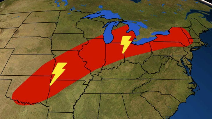 Severe Storms to Threaten Midwest With Damaging Winds, Large Hail Sunday Evening