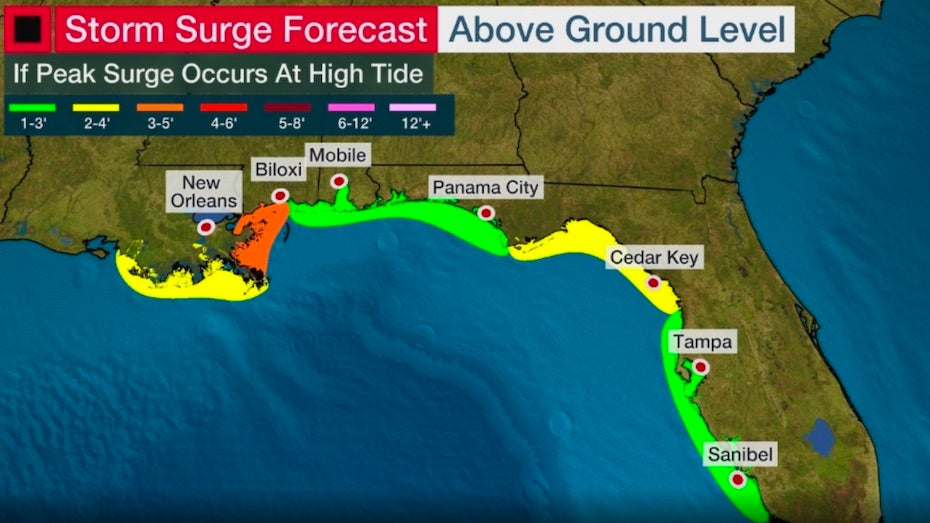 Where Are the Rains and Storm Surge Headed?