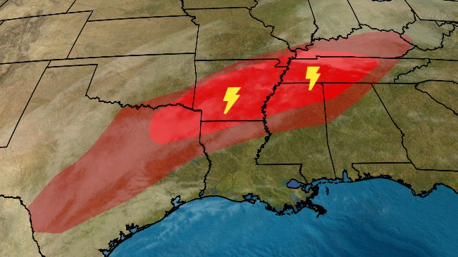 Severe Thunderstorms, Including a Few Tornadoes, and Flooding Rain Possible in Parts of South, Ohio Valley | The Weather Channel - Articles from The Weather Channel | weather.com