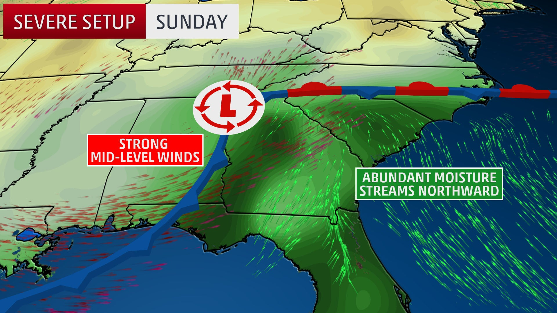Severe Thunderstorms And Flooding Possible In The Southeast Into - Weather map southwest us