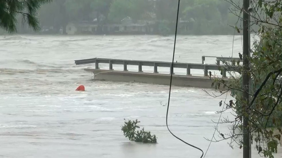 Watch: Massive Flooding Causes Bridge Collapse in Texas