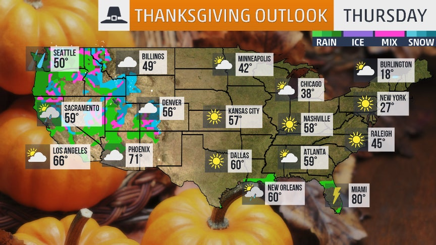 Thanksgiving 2018 Travel Weather Forecast