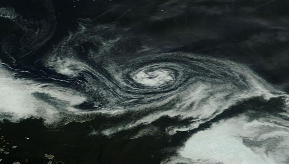 that large white swirl off the coast of the canadian