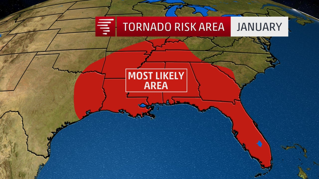 where january tornadoes are most likely in the united states