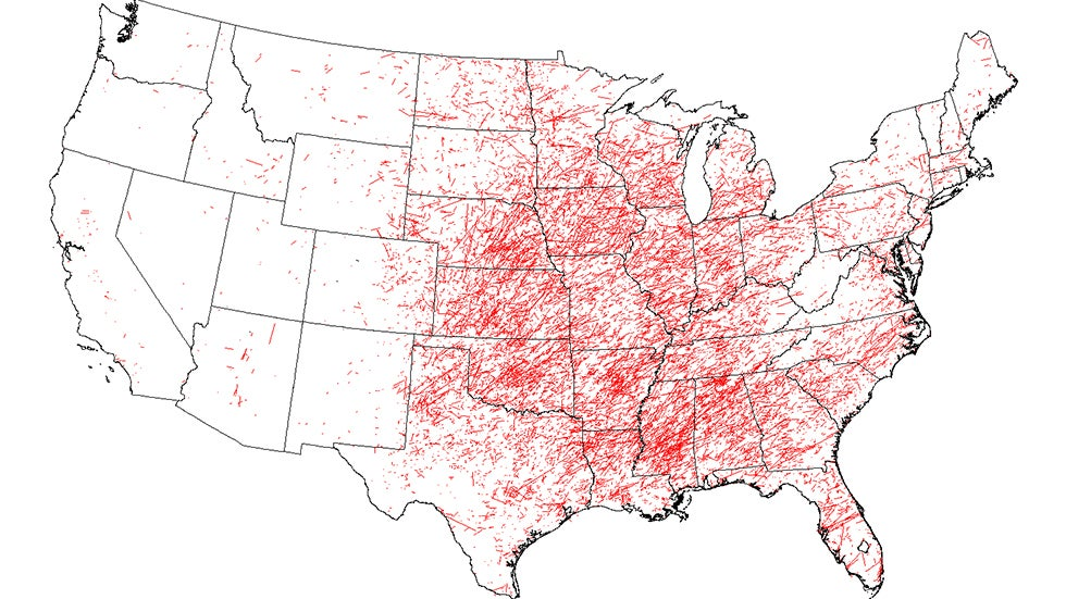 Your Odds Of Being Hit By A Tornado The Weather Channel - Us-tornado-map