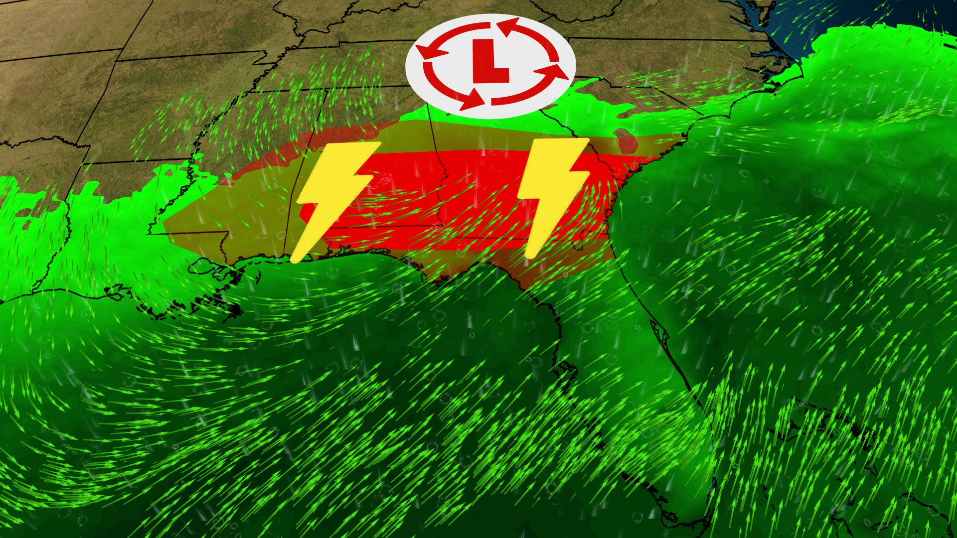 Severe Thunderstorms Spawn Tornadoes in the Deep South Tuesday