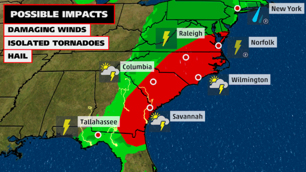 Damaging winds and tornadoes are possible