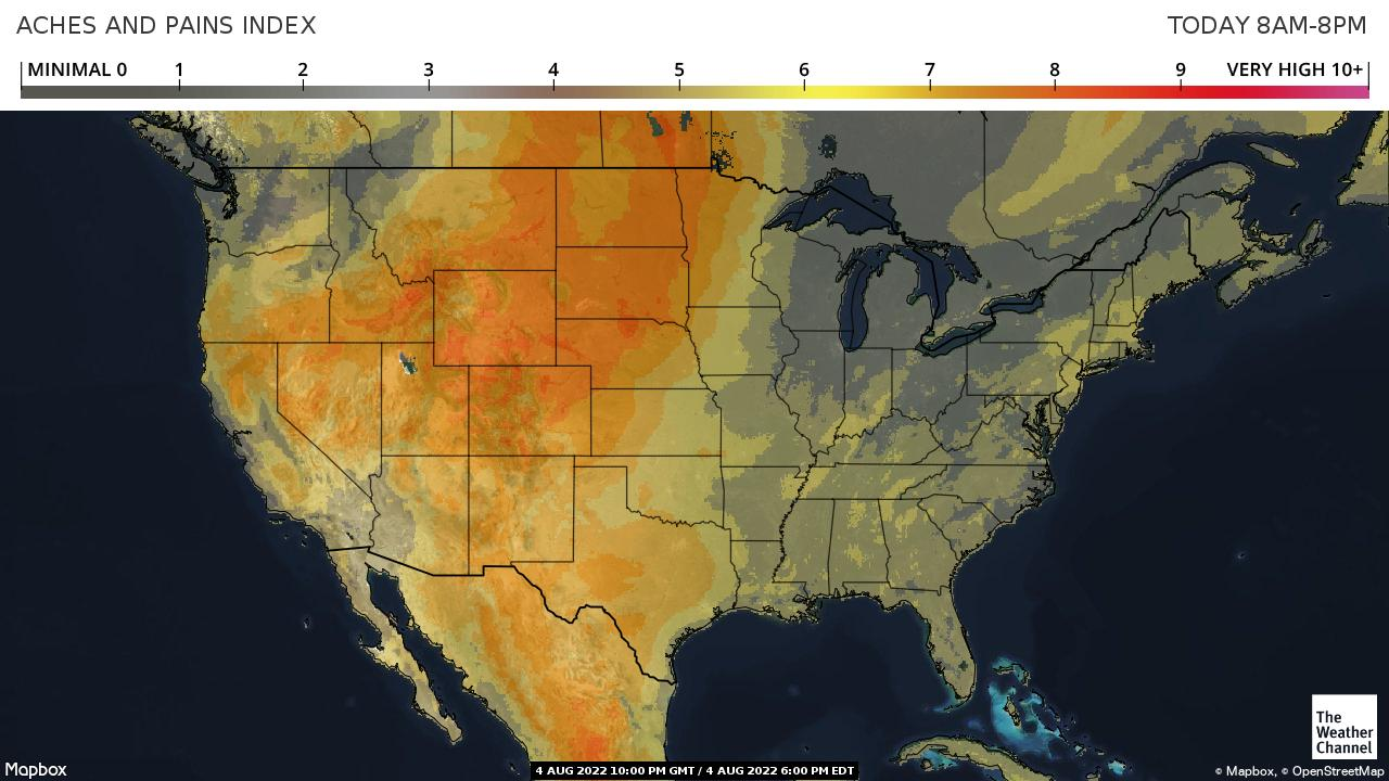 Weather Channel Aches and Pains Index Map