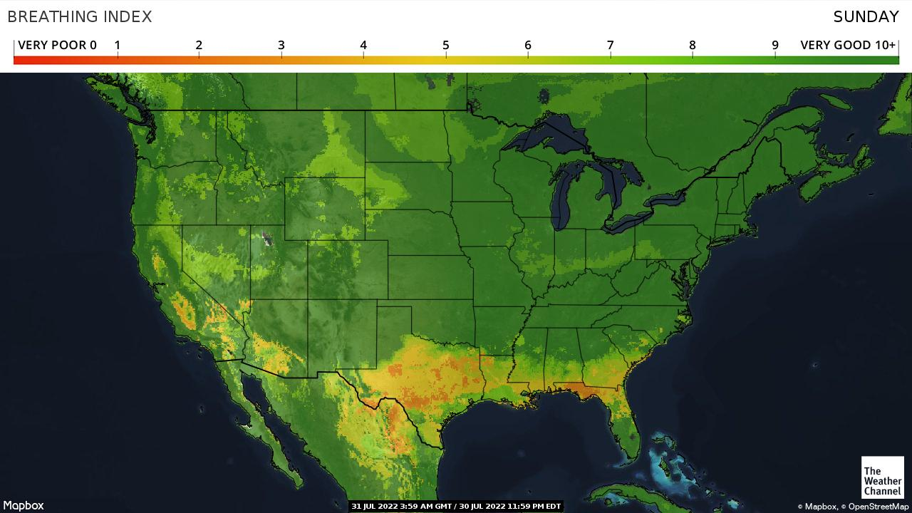 Weather Channel Breathing Index Map