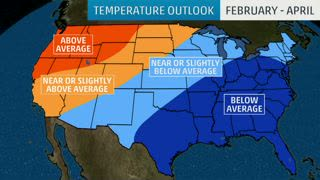 Late-Winter Temperatures Looking Below Average for Some
