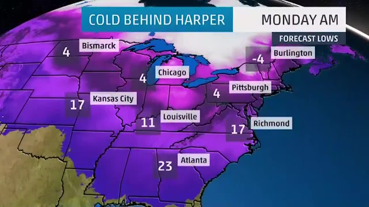 Bitterly Cold Temperatures to Follow Winter Storm Harper