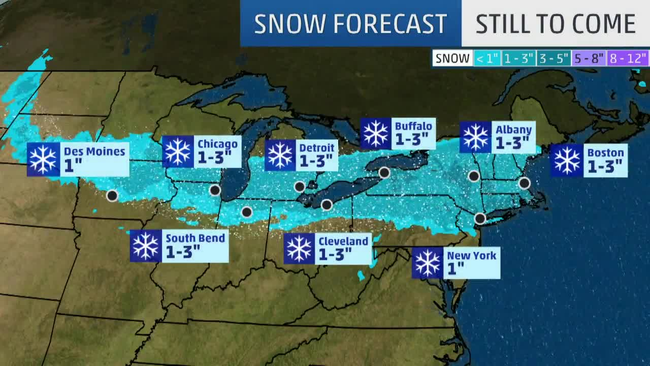 Wintry System Bringing Snow from the Plains to the East Coast