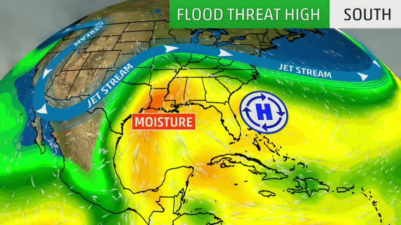 Flood Threat Returns to South, Ohio Valley with Multiple Rounds of Rain