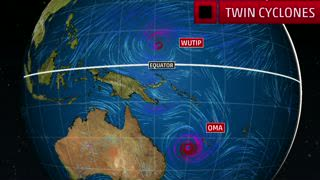 Rare February Cyclones in Western Pacific