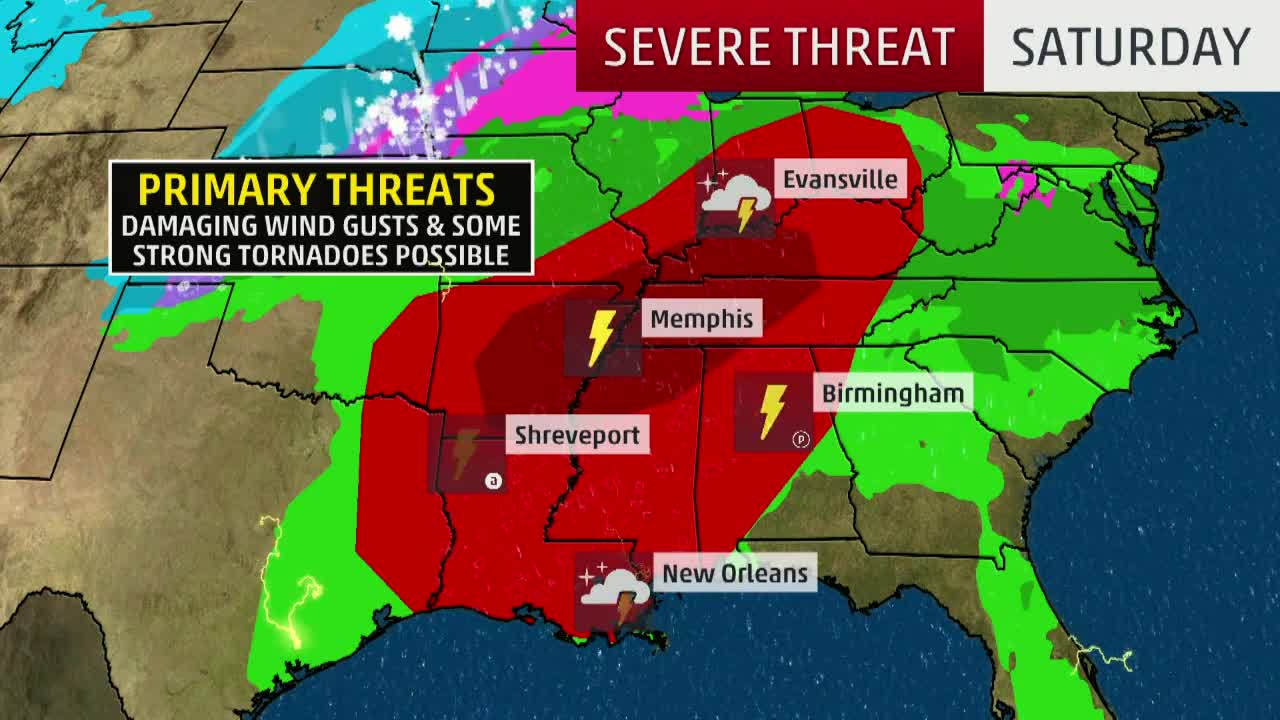 Tornadoes Possible on Saturday from the South to Ohio Valley