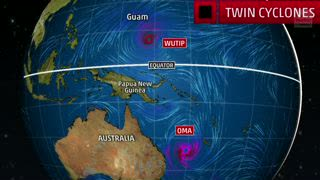 Twin Tropical Cyclones in the Western Pacific Spinning in Opposite Directions