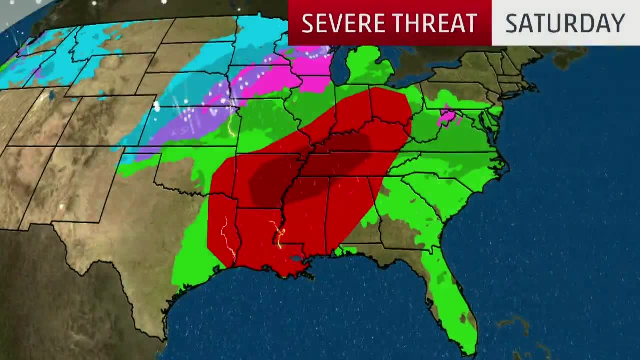 Threat of Severe Storms, Possible Tornadoes Saturday over Wide Area of South