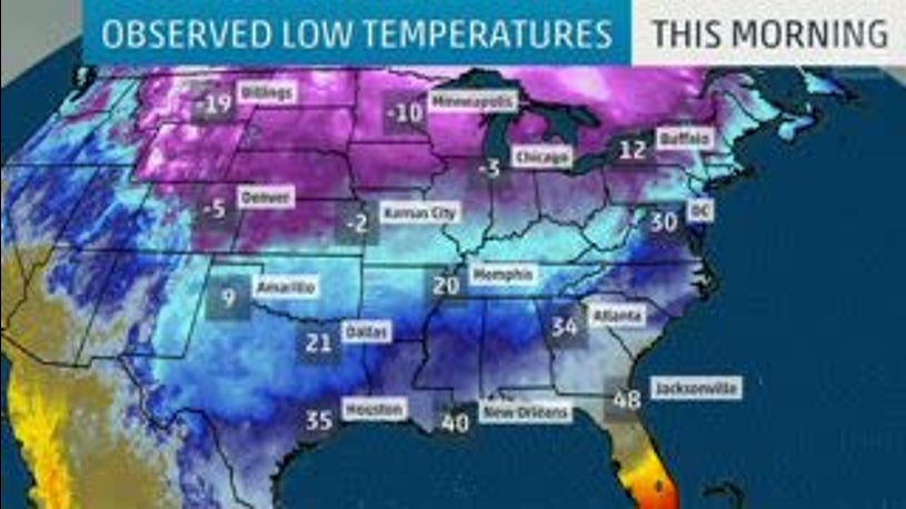 Below-Average U.S. Temperatures Among the Coldest in World Right Now