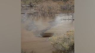 Las Vegas Valley Rain Leaves Whirlpools in Red Rock Canyon